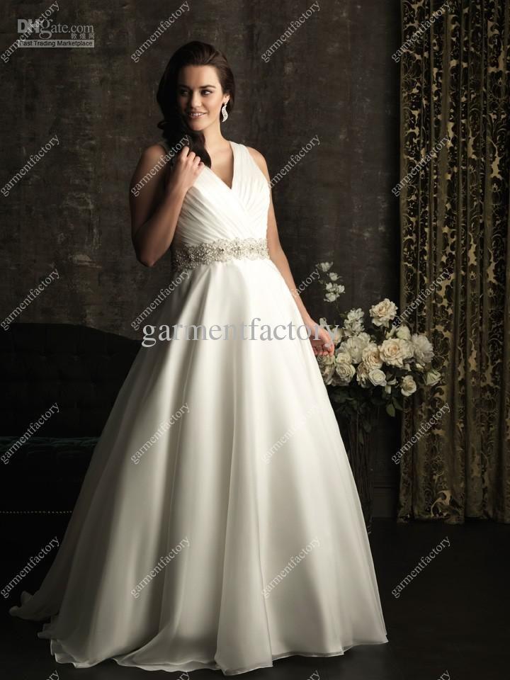 Plus Size Wedding Dresses 2013 V Neck A Line Chapel Train Beaded