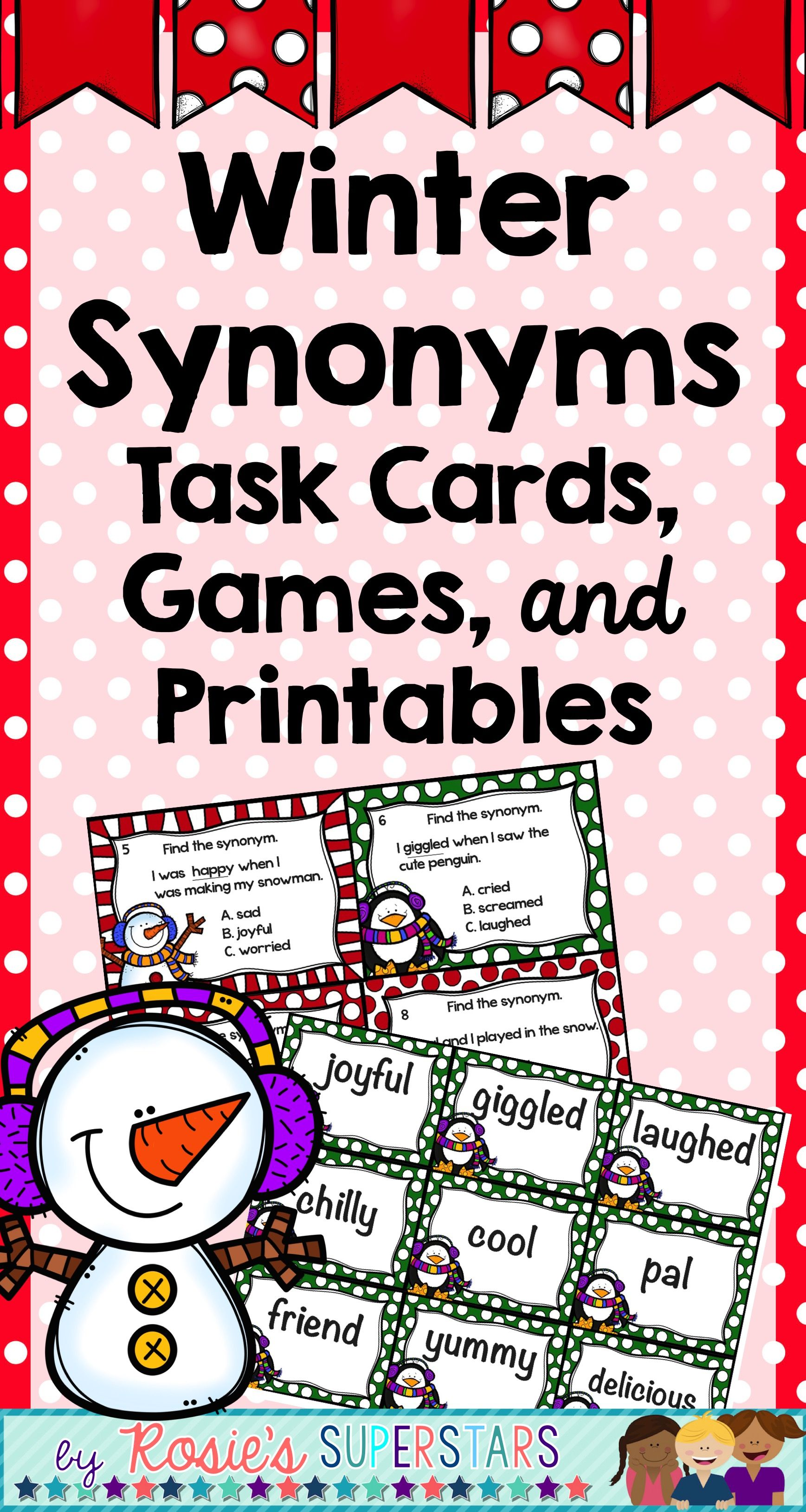 Winter Synonyms Task Cards Games And Printables