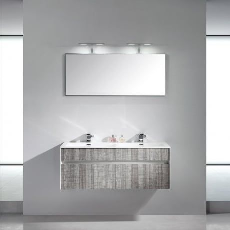 Lusso Stone Encore Double Designer Wall Mounted Bathroom Vanity Unit 1200