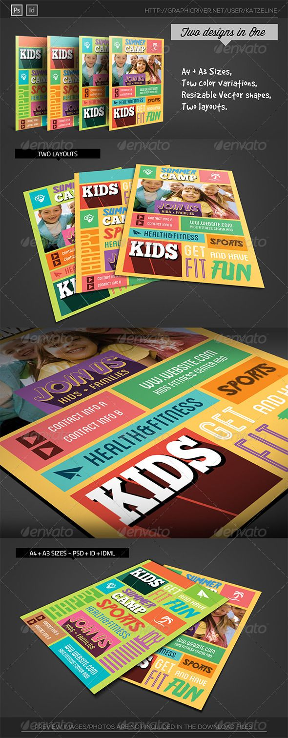 Kids Fitness Camp Flyer Template  Flyer Template Template And