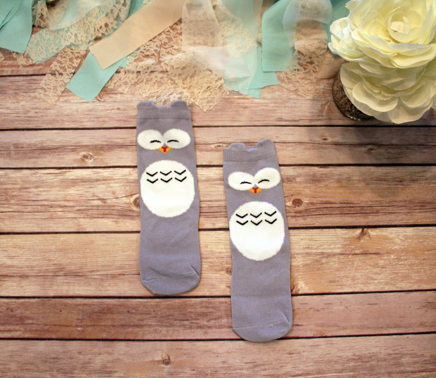 Gray Owl Socks Boho Baby Clothes Baby Accessories Knee High Owl