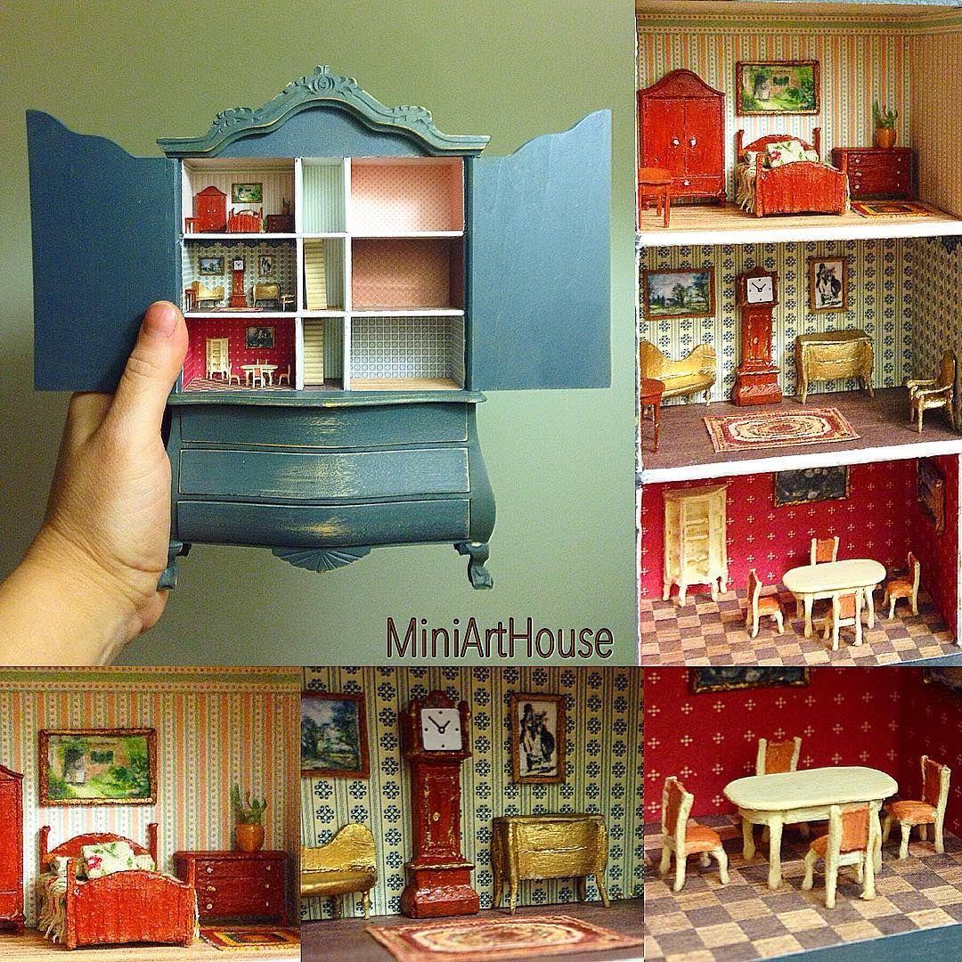 1//12 Dolls House Mini Furniture Cupboard Showcase Living Room DIY Ornaments
