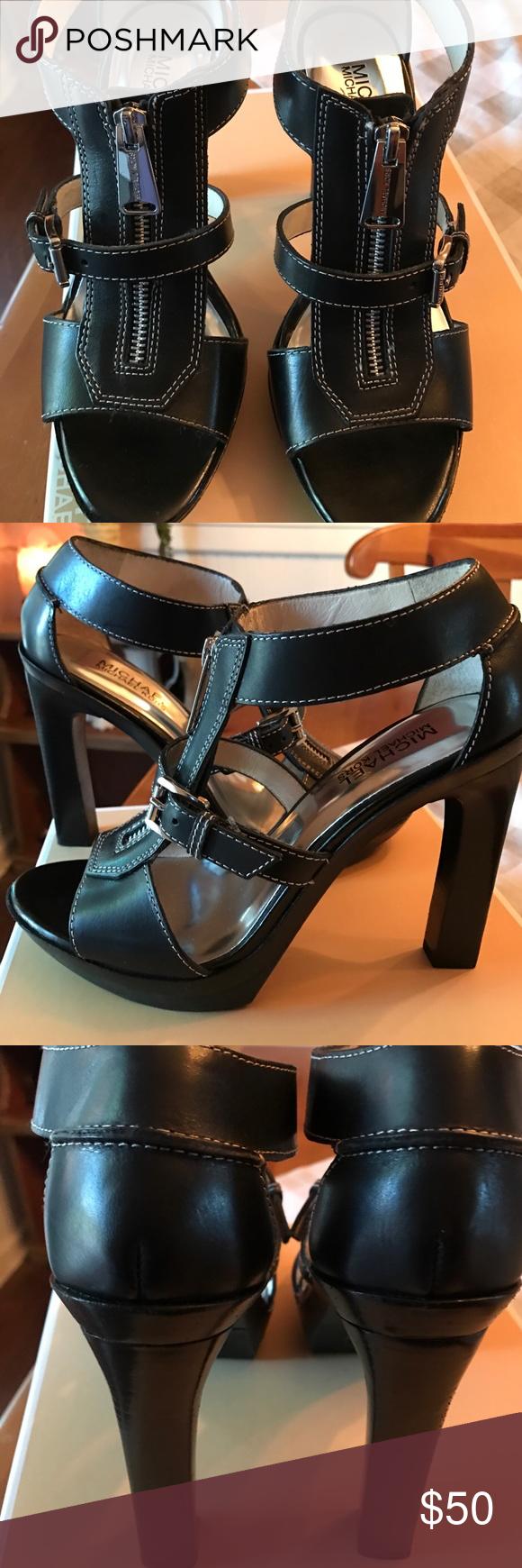 256ee073bf7 Michael Kors Black Heels 8 Michael Kors black heels with silver ...