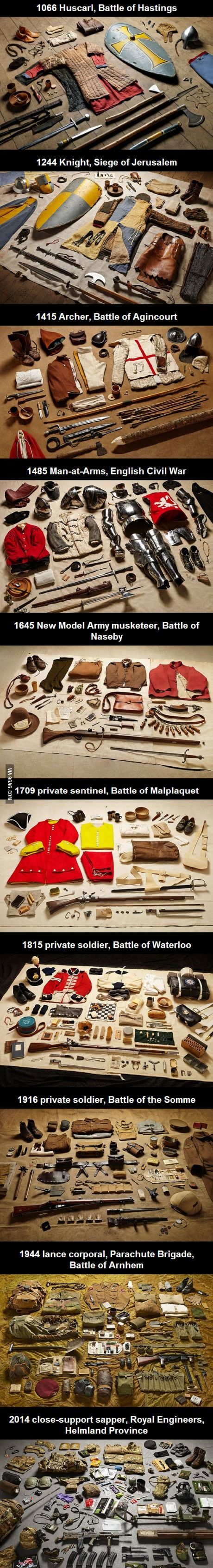 A soldier's gear throughout the ages #historyfacts