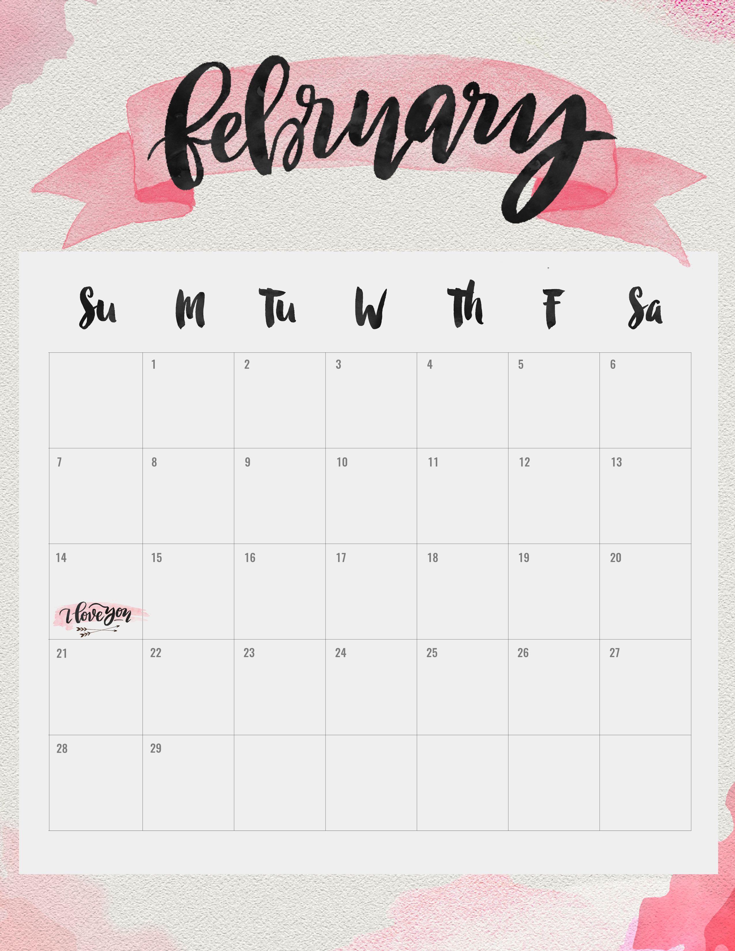 Printable February 2016 calendar by Jenny Highsmith
