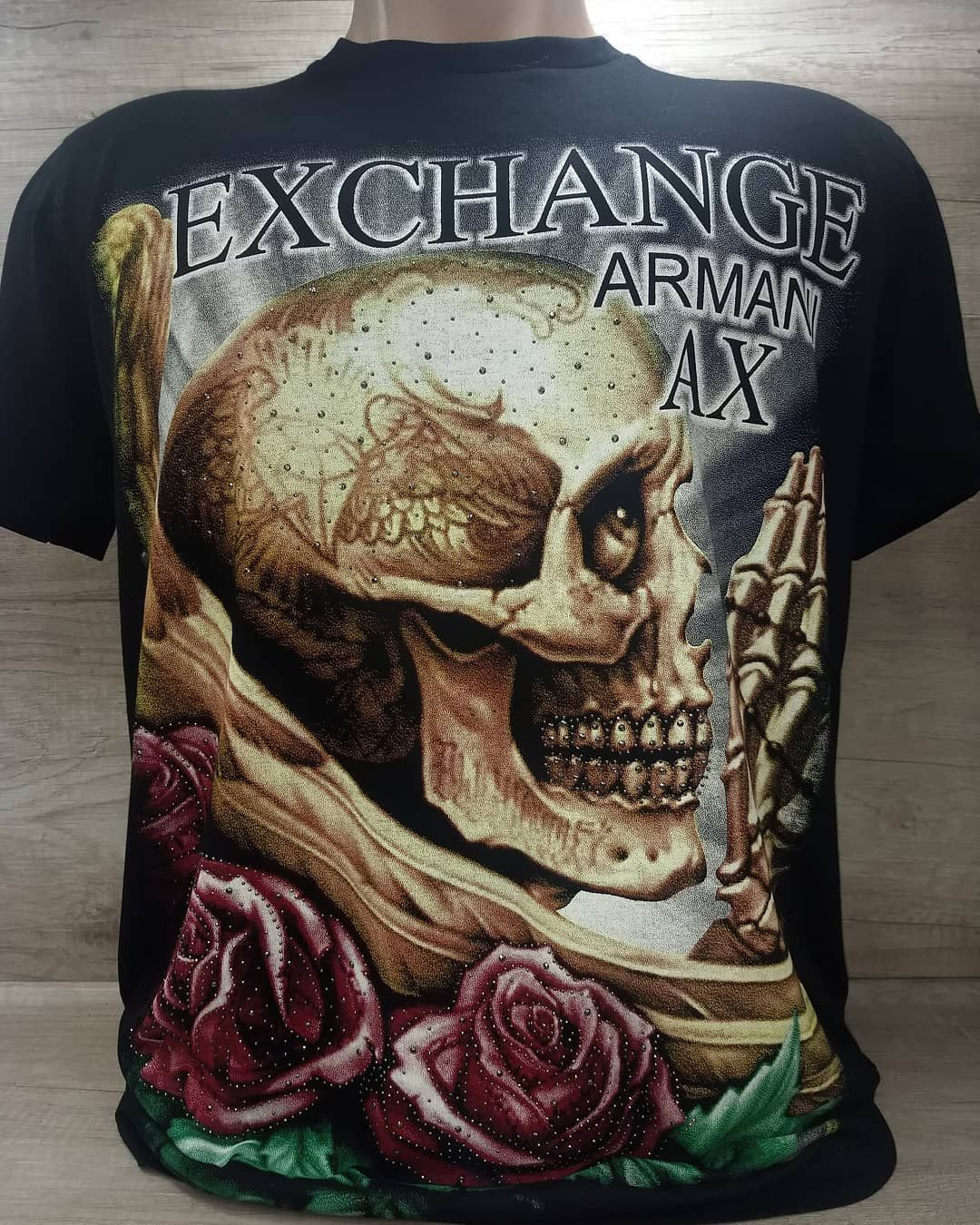 ac9253cf337 Camiseta Armani Exchange malha Peruana com pedraria cod 089 R 59.99  Tamanhos disponíveis MG e GG