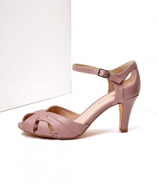 Dusty Pink Leatherette Peep Toe D'Orsay Pump