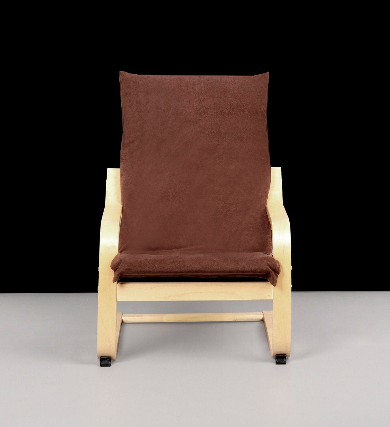 Suede Brown Flocked Leaf Print IKEA KIDS POÄNG Cushion