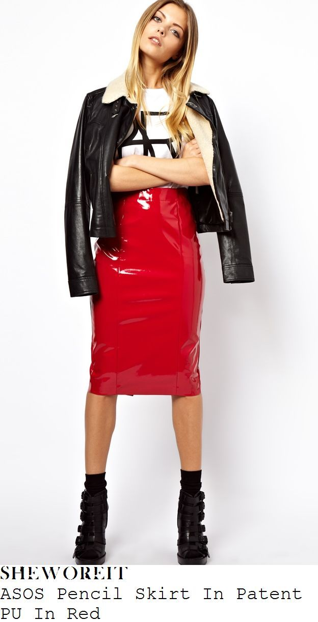 1dee549df1 ASOS long red patent vinyl pencil skirt. These look great paired with  graphic tshirts.