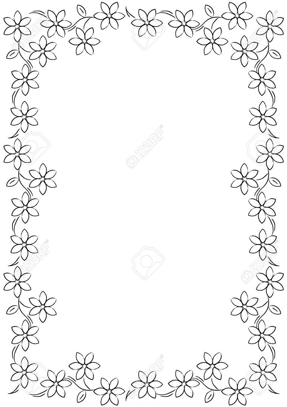 Flower Borders Black And White Best Black And White Flower Border 15721 Clipartion Com Flower Border Flower Border Clipart Clip Art Borders