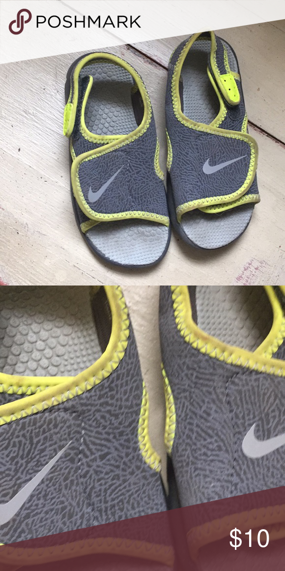 7eeeef6f994e Baby Nike Sandals size 9 Cute gray and yellow size 9 cute on boys or girls.  Only  10. Nike Shoes Sandals   Flip Flops