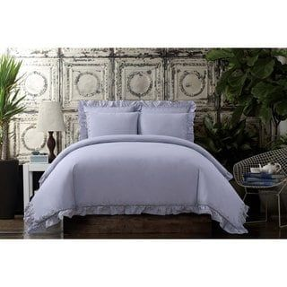 Cottage Classics Washed Cotton Voile Ruffle 3 Piece Comforter