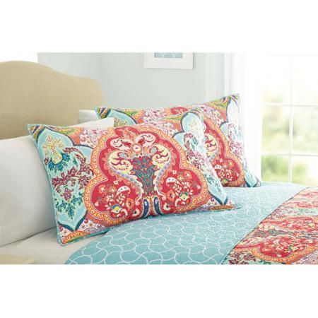 Better Homes And Gardens Jeweled Damask Quilt Collection Sham Set Walmart Com Damask Bedding Damask Quilt Better Homes And Gardens