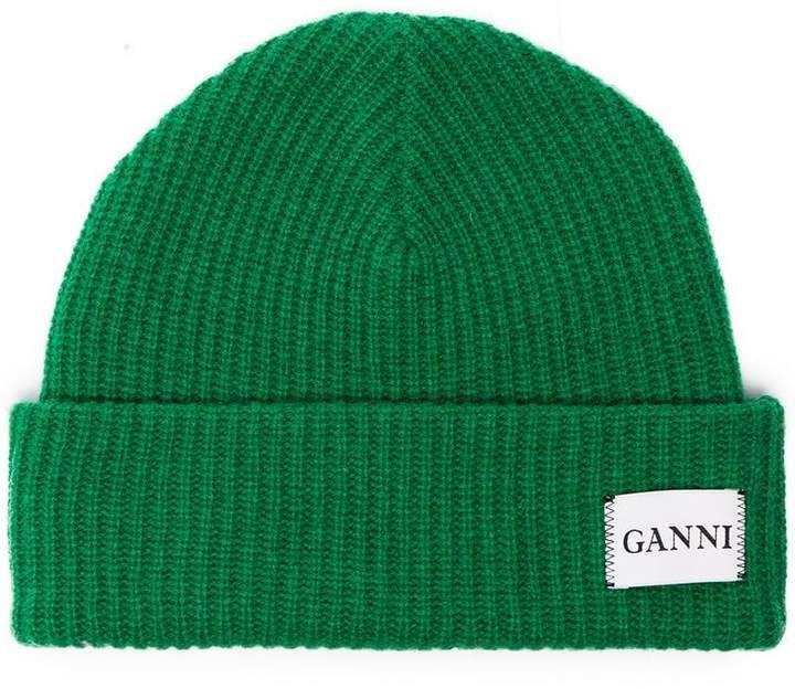 6c4ce2acfbf91 Ganni Green Knit Logo Beanie in 2019