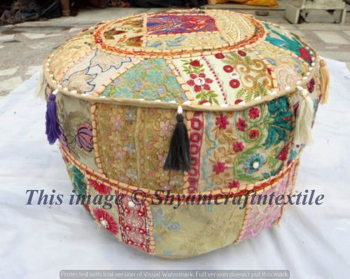 Pouf Ottoman Pouffe Poof Indian Round Decorative Patchwork Footstool Unique Indian Pouf Covers