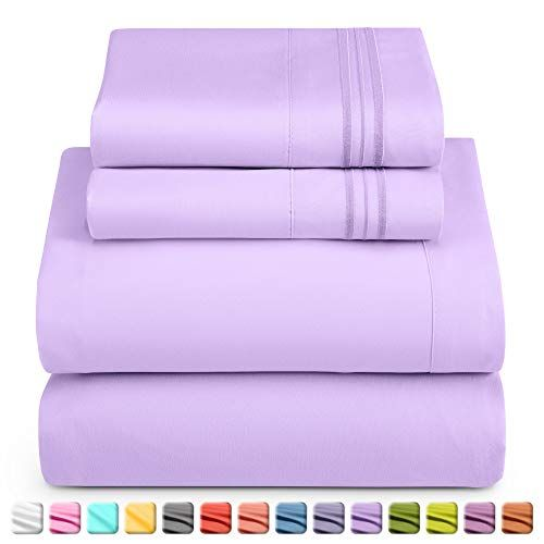 Nestl Luxury Queen Sheet Set - 4 Piece Extra Soft 1800 Microfiber-Deep Pocket Bed Sheets with Fitted Sheet, Flat Sheet, 2 Pillow Cases-Breathable, Hotel Grade Comfort and Softness - Lavender