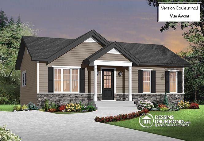 W3137 - Modèle économique de style Moderne Rustique, 2 chambres - Plan Maison Moderne  Chambres