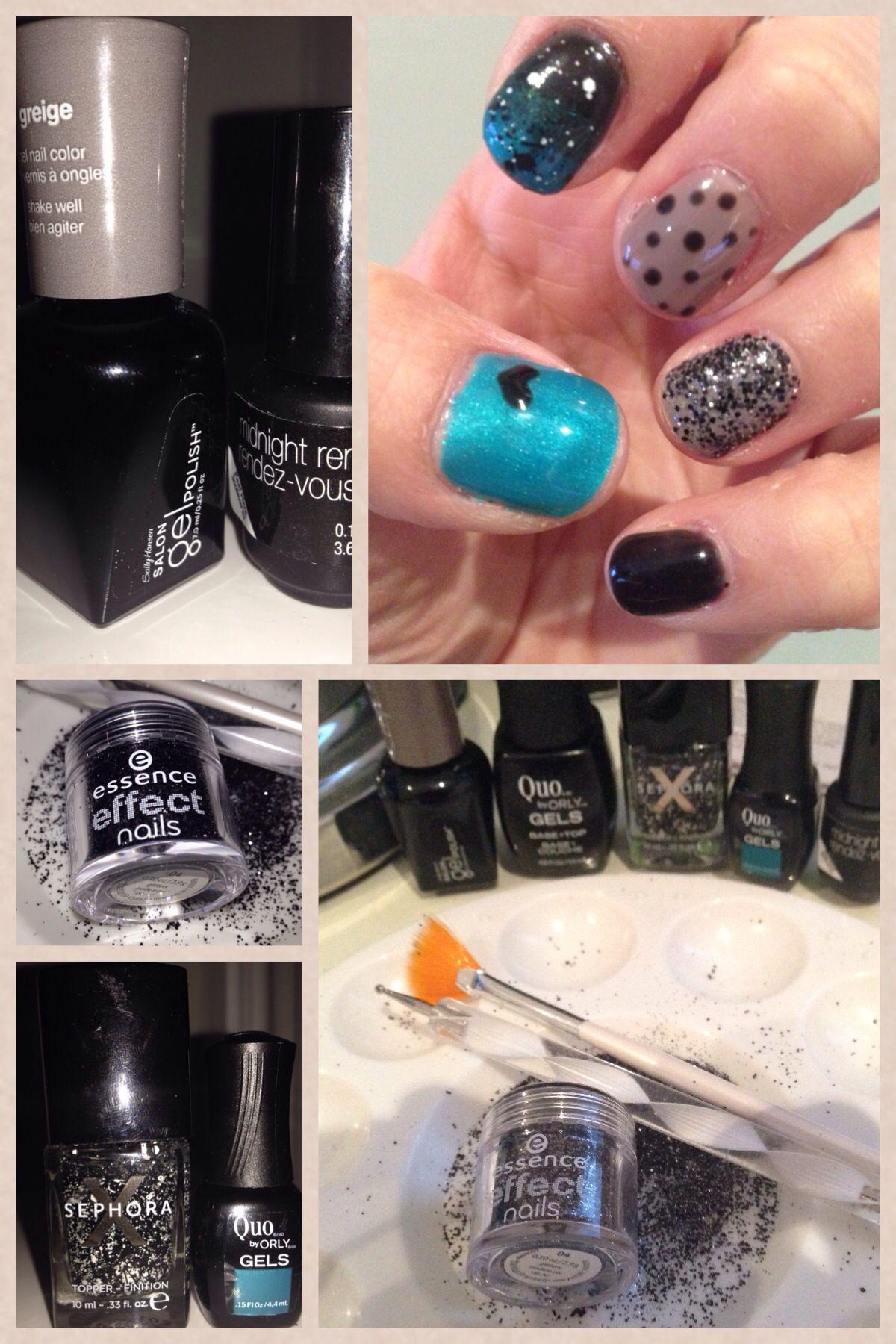 aqua and black gel nail art