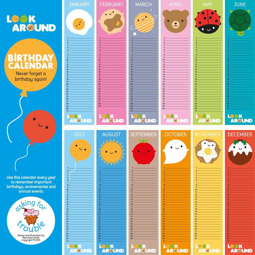 happy birthday calendar - Buscar con Google | 1st Lesson ...