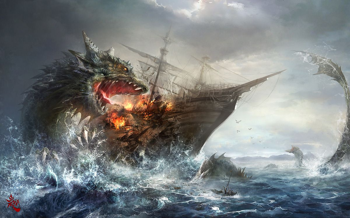 2011.12.17 Picture  (2d, fantasy, illustration, monster, sea monster, ship, wreck)