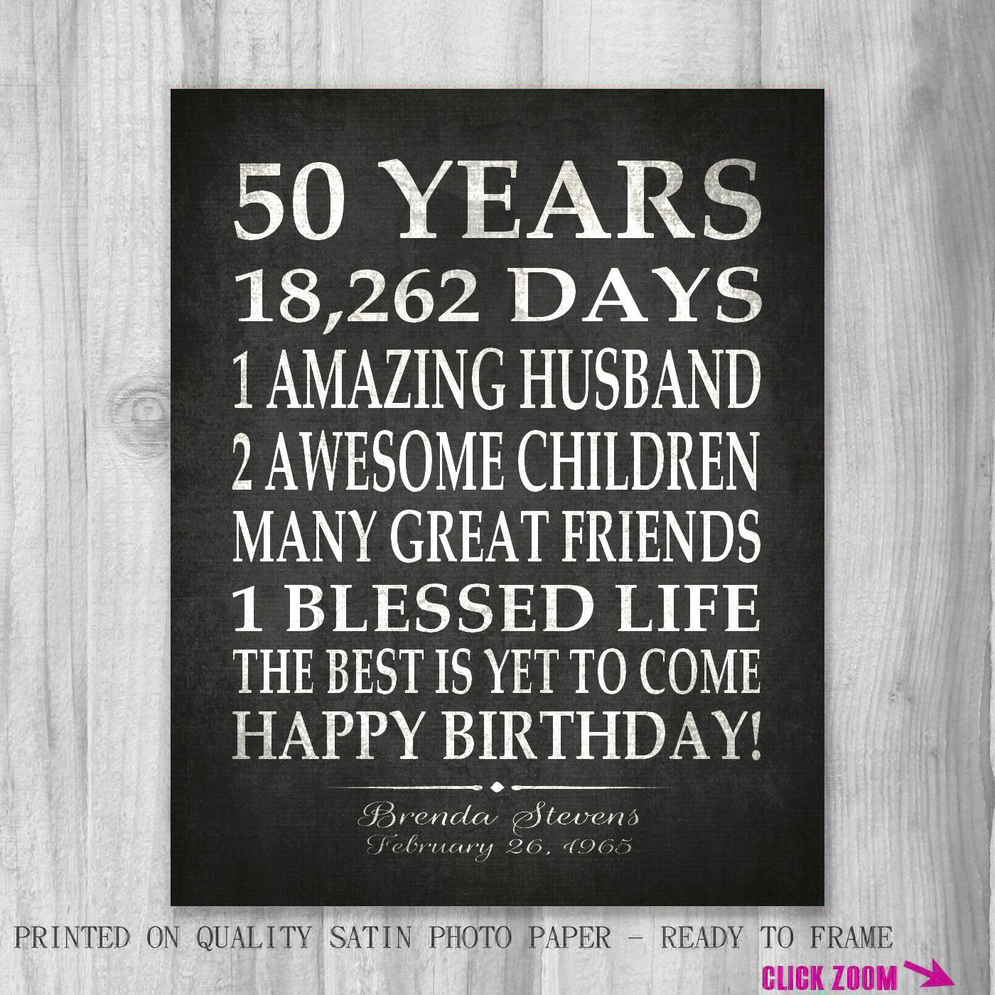 50th birthday party gift personalized 50 birthday print over the