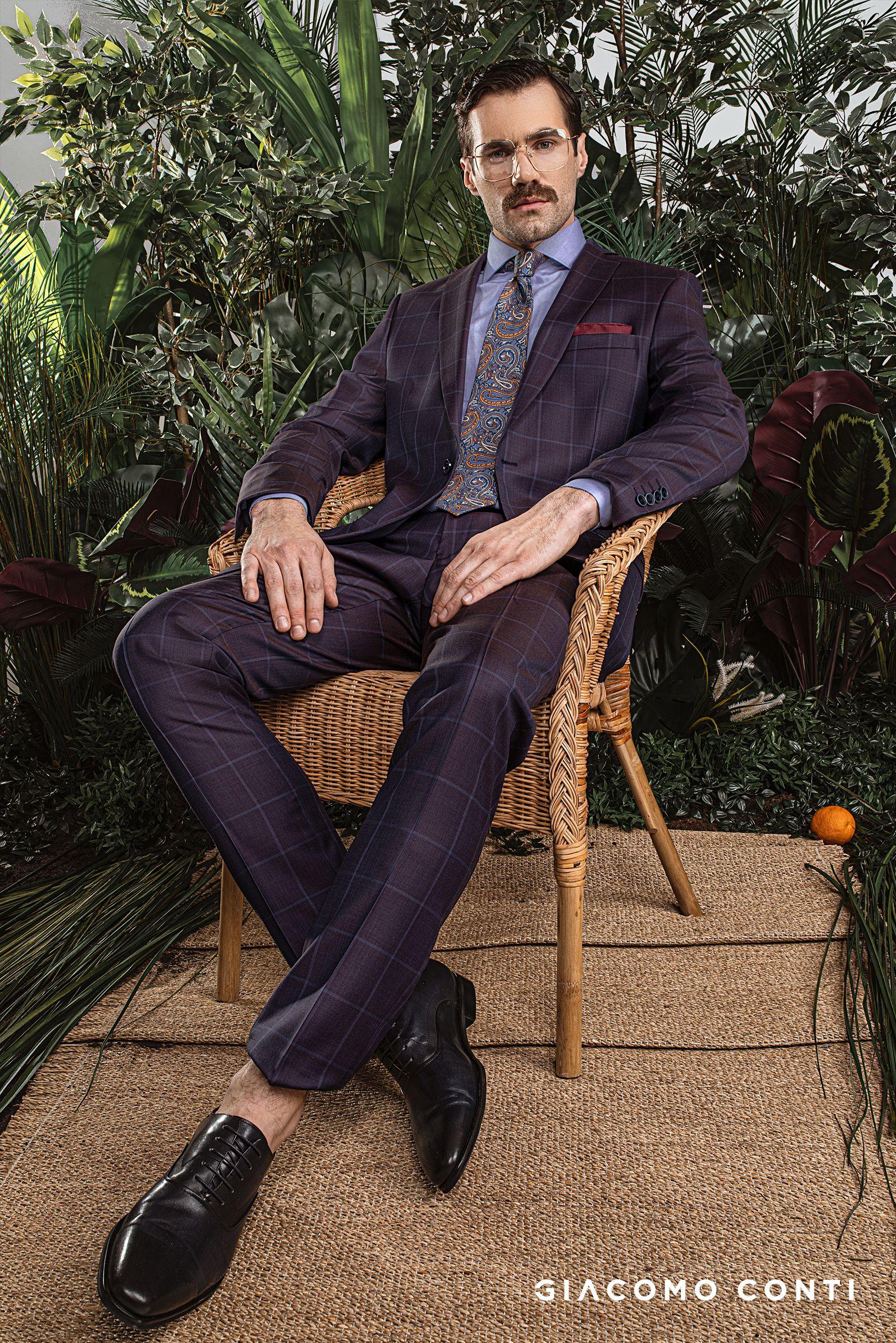 Fioletowy Garnitur W Kratke Giacomo Conti Style Mens Fashion Fashion