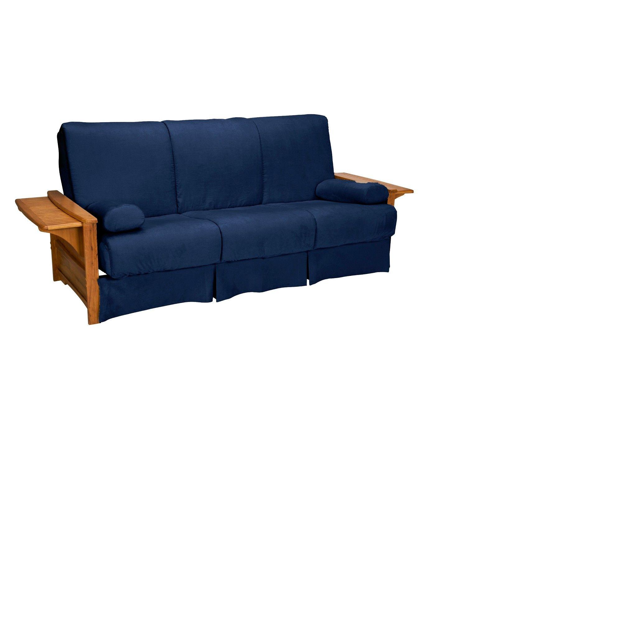 Brooklyn Perfect Futon Sofa Sleeper Medium Oak Wood Finish Dark Blue Upholstery Queen