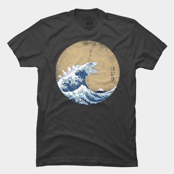 Hokusai Gojira Vintage Version By Mdk7 Mens Tshirts Cool Shirts T Shirt