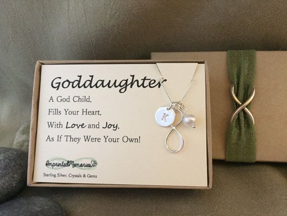Gift For Goddaughter Birthstone Necklace Sterling By: Goddaughter Gift Initial Freshwater Pearl Infinity