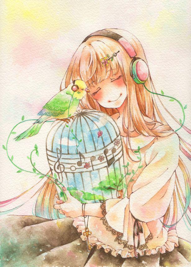 Pinterest 芸術的アニメ少女, アートのアイデア, 水彩画のアート