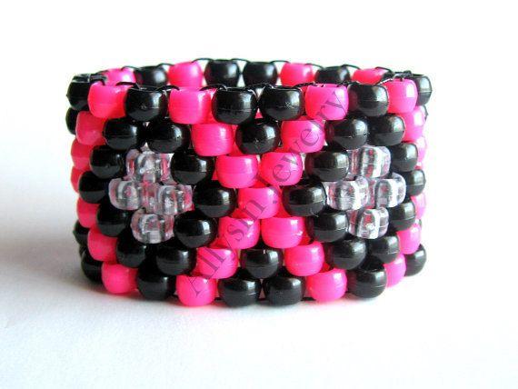 Kandi Pony Beads And Rave: Kandi Cuff, Hot Pink, Black X Pattern, Rave Plur