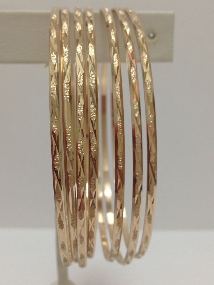 5532993dc7f9c Details about 14K Yellow Gold 7 Days Bangles Semanario 2 5/8inch ...