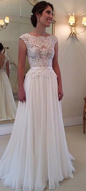 Lace Chiffon Backless A Line Wedding Dresses Capped Sleeves Sweep Train  Summer Bridal Gowns