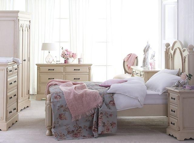 Schlafzimmer Shabby Chic Rosa Weiss Creme Farbpalette Schlafzimmer