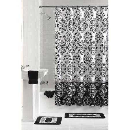 Mainstays Ashur 15 Piece Bath Set Bathroom Sets Black And Gold Bathroom Shower Curtain Rings