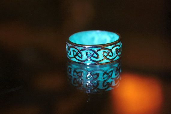 CELTIC sterling silver ring GLOW in the DARK by Papillon9 on Etsy