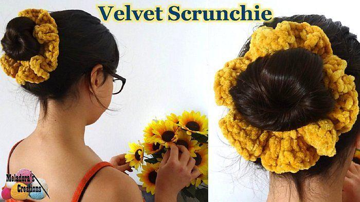 Velvet Crochet Scrunchies - Fluffy Crochet Scrunchy – Free Crochet pattern - M... #crochetscrunchies