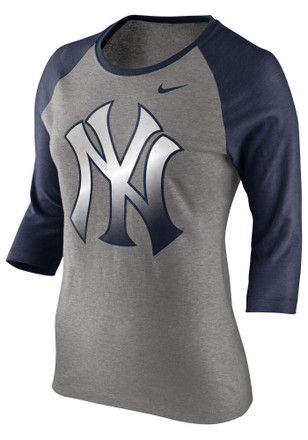 400a3f55 Nike NY Yankees Womens Raglan Grey T-Shirt | MLB - New York Yankees ...