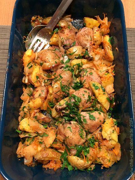 hähnchen auf kartoffeln backofen