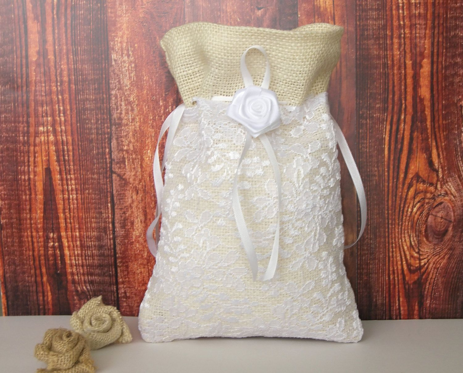 Ivory Burlap Dollar Dance Bag With White Lace Layer Rustic Wedding Money
