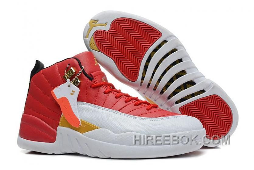 Buy Authentic Womens Air Jordan 12 GS Red White Gold For Girls Cheap Sale  from Reliable Authentic Womens Air Jordan 12 GS Red White Gold For Girls  Cheap