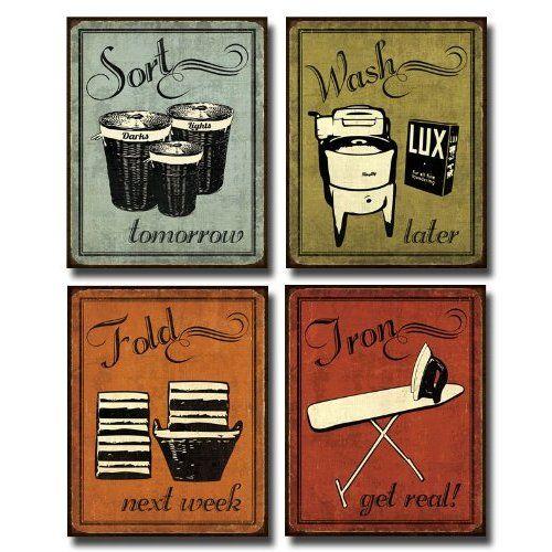Amazon Com Laundry Set Mini Mini Prints Vintage Signs Art