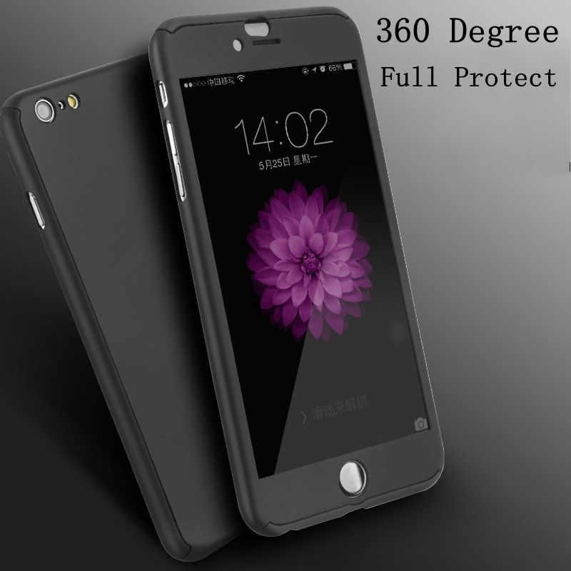 Plus 360 Degree Cover Case For Iphone 6 Front Clear Glass Film Gold Metal Back