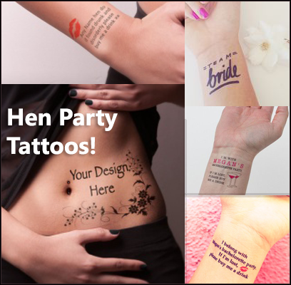 Hen Party TATTOO's. They're a new TREND! Don't worry they're only Temporary Tattoos and they LOOK FAB. Here we have some PHOTO's with just a few Ideas... go on you know you want too. To get more information about Hen Party Tattoos' WE HAVE ADDED a Direct link to the TATTOO Website. Have Fun!! #henparty #tattoos #girlsnight #girlsnightout #girlsstuff #weekendfun