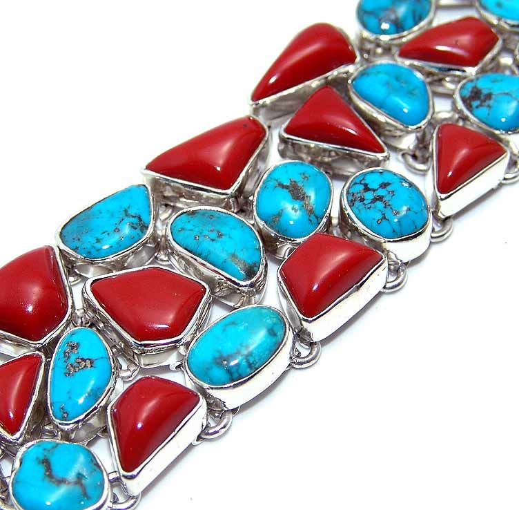 turquoise, coral bracelet designed and created by Sizzling Silver. Please visit www.sizzlingsilver.com. Product code: BR-435