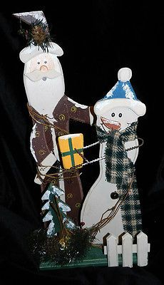 CUTE PRIMITIVE WOOD SANTA and SNOWMAN!! Christmas!