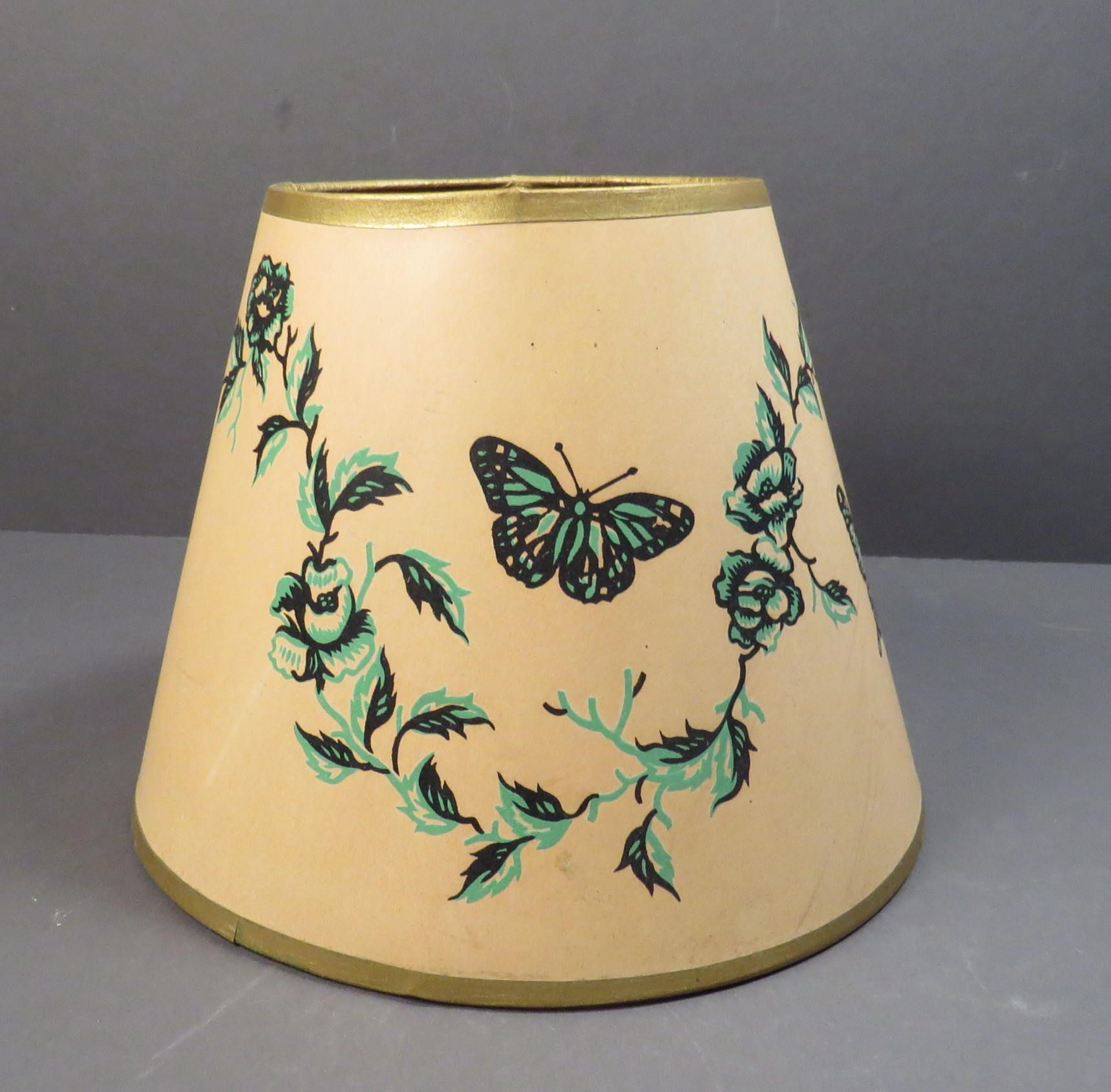 Butterfly And Floral Ivy Paper Clip On Lamp Shade Vintage 1940s 1950s Shabby Chic
