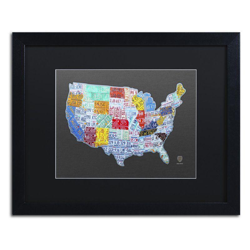 Trademark Fine Art Massive USA License Plate Map Framed Wall ...