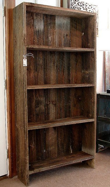 Vintage Reclaimed Rustic Barnwood Bookcase Book By CURIOSITYNC