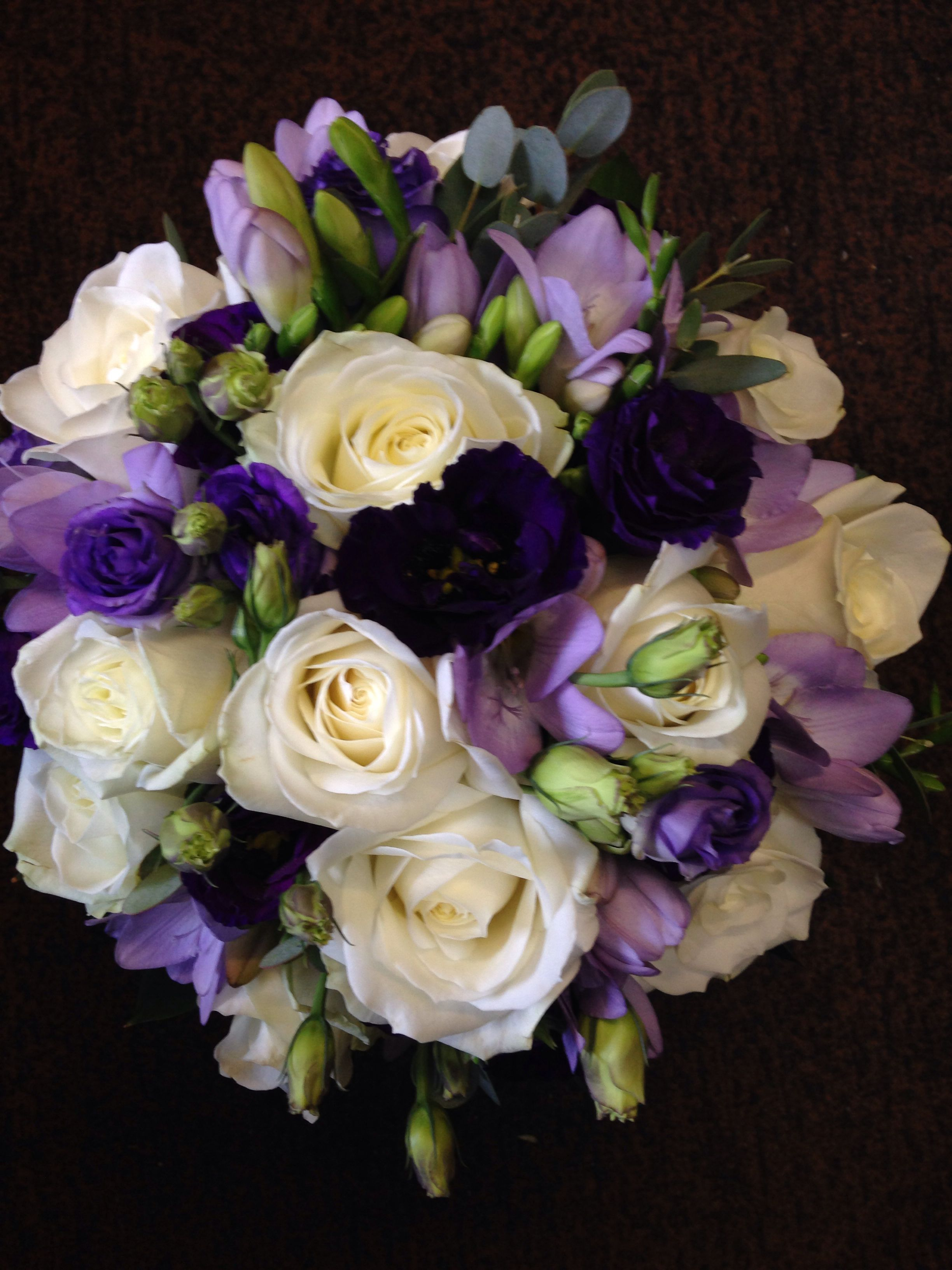 Cadbury Purple Lilac And Ivory Hand Tied Bridal Bouquet Flower